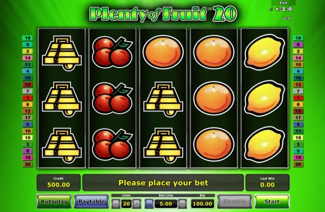 Plenty of Fruit 20 :: Main Game Board