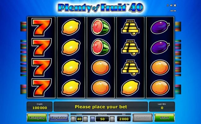 A fruit themed main game board featuring five reels and 40 paylines with a $1,000,000 max payout.