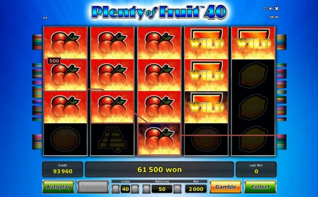 Cherry symbols along with flaming sevens wild symbols combine forming multiplie winning paylines leading to a mega 61,500.00 jackpot win.