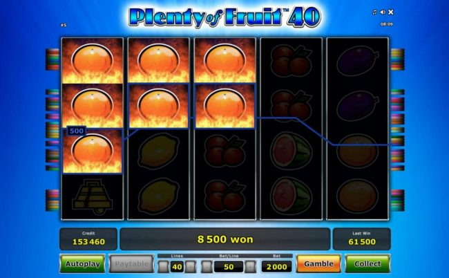 An 8,500 big win triggered by multiple winning paylines of oranges