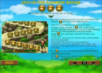End of the Rainbow Bonus feature rules and how to play