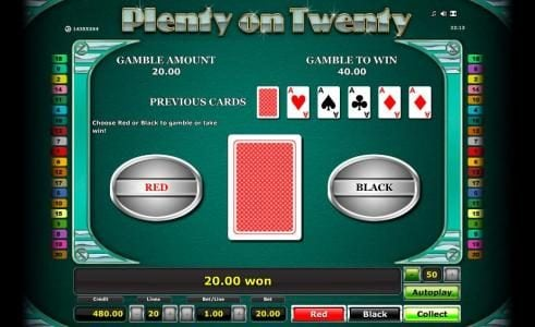 Casumo featuring the Video Slots Plenty on Twenty with a maximum payout of $50,000