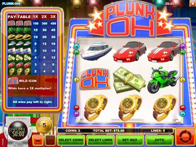 Winbig21 featuring the Video Slots Plunk Oh with a maximum payout of $11,250