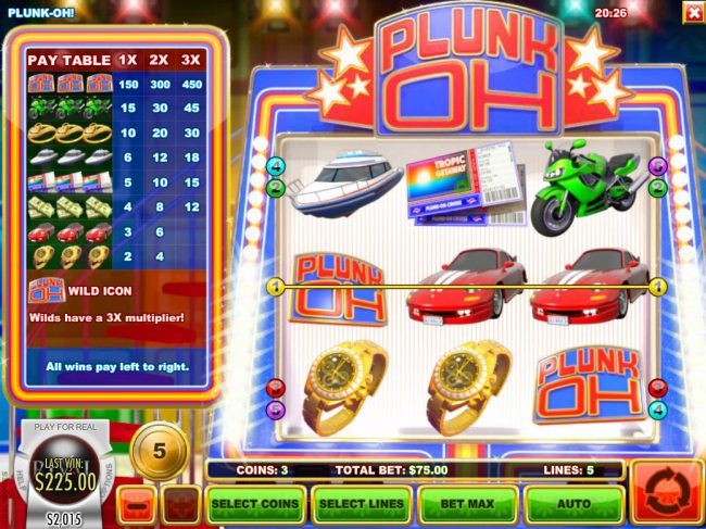 Paradise 8 featuring the Video Slots Plunk Oh with a maximum payout of $11,250
