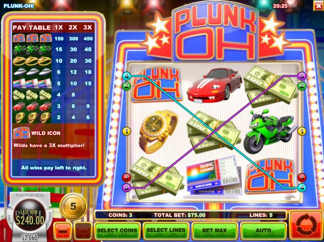 Planet Kings featuring the Video Slots Plunk Oh with a maximum payout of $11,250