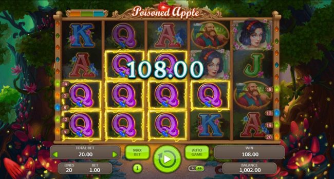 Poisoned Apple :: Multiple winning paylines triggers a 108.00 big win