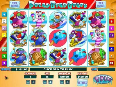 Polar Bear Beach :: Main game board featuring five reels and 15 paylines with a Jackpot max payout