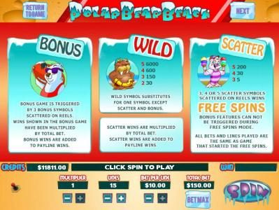Polar Bear Beach :: Bonus Game is triggered by 3 bonus Polar Bear symbols scattered on reels. Wild symbol substitutes for one symbol except scatter and bonus. Scatter, 3, 4 or 5 Scatter symbols scattered on reels wins Free Spins.