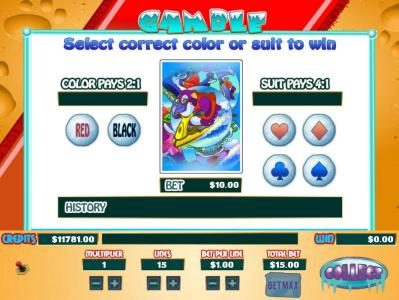 Polar Bear Beach :: Gamble feature is available after each winning spin. Select color or suit to play.