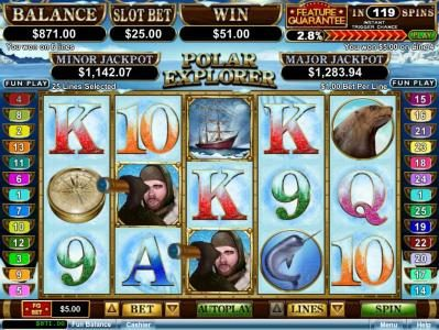 Sloto Cash featuring the Video Slots Polar Explorer with a maximum payout of $250,000