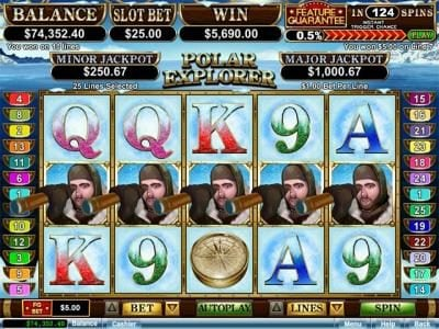 Raging Bull featuring the Video Slots Polar Explorer with a maximum payout of $250,000