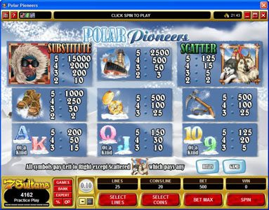 emu Casino featuring the Video Slots Polar Pioneers with a maximum payout of $30,000