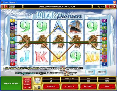Golden Tiger featuring the Video Slots Polar Pioneers with a maximum payout of $30,000