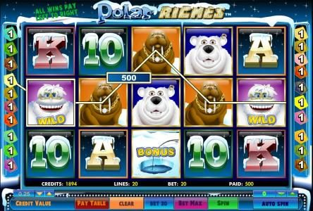 five of a kind triggers a 500 coin big win jackpot