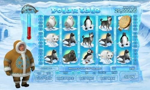 Play slots at 1BET: 1BET featuring the Video Slots Polar Tale with a maximum payout of $20,000
