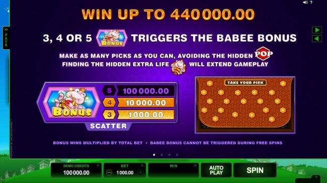 Casino Mate featuring the Video Slots Pollen Party with a maximum payout of $440,000