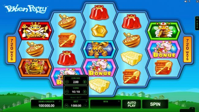 Dreamy 7 featuring the Video Slots Pollen Party with a maximum payout of $440,000