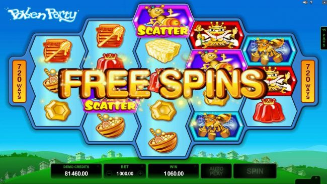 Casino Action featuring the Video Slots Pollen Party with a maximum payout of $440,000