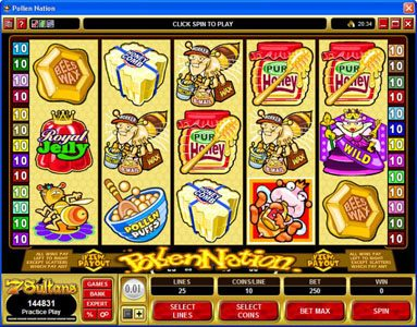 Play slots at VegasMobile: VegasMobile featuring the Video Slots Pollen Nation with a maximum payout of $30,000