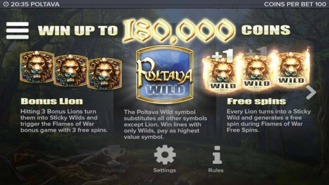 TS featuring the Video Slots Poltava - Flames of War with a maximum payout of $450,000