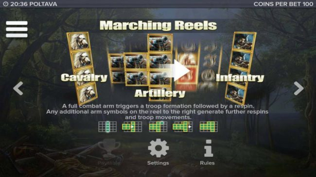 Poltava - Flames of War :: Marching Reels - A full combat arm triggers a troop formation followed by a respin. Any additional arm symbols on the reel to the right generate further respins and troop movements.