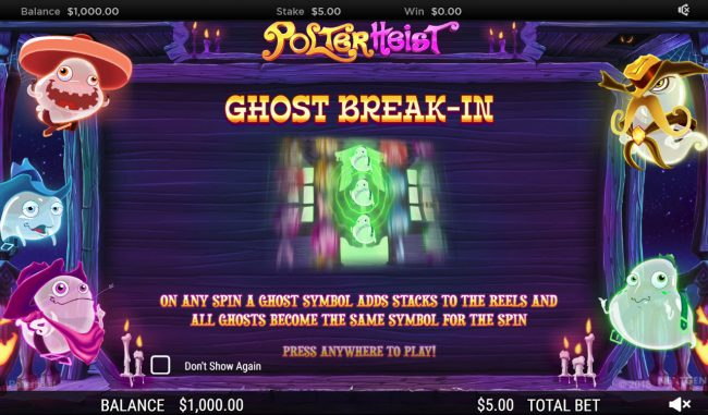 Play slots at Sin Spins: Sin Spins featuring the Video Slots Polterhiest with a maximum payout of $250,000