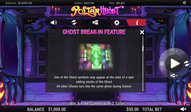 Ocean Bets featuring the Video Slots Polterhiest with a maximum payout of $250,000