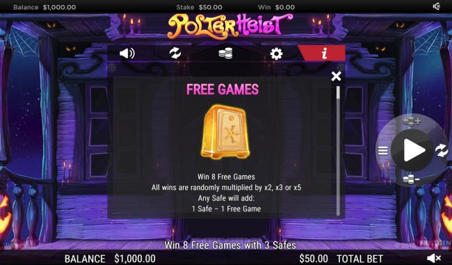 Casino Red Kings featuring the Video Slots Polterhiest with a maximum payout of $250,000