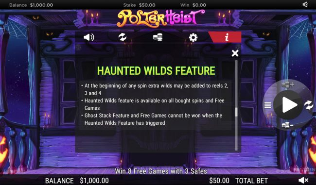 Euro King featuring the Video Slots Polterhiest with a maximum payout of $250,000
