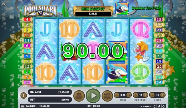 Rich Casino featuring the Video Slots Pool Shark with a maximum payout of $2,000,000