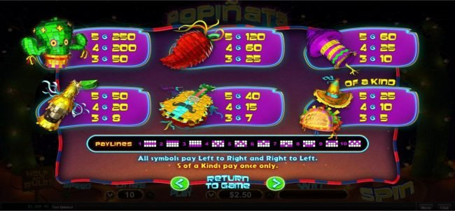 99 Slot Machines featuring the Video Slots Popinata with a maximum payout of $12,500
