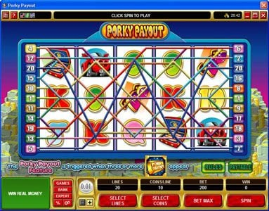 Money Reels featuring the Video Slots Porky Payout with a maximum payout of $150,000