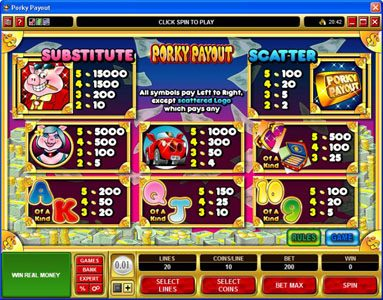 Quatro featuring the Video Slots Porky Payout with a maximum payout of $150,000