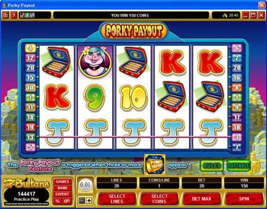Music Hall featuring the Video Slots Porky Payout with a maximum payout of $150,000