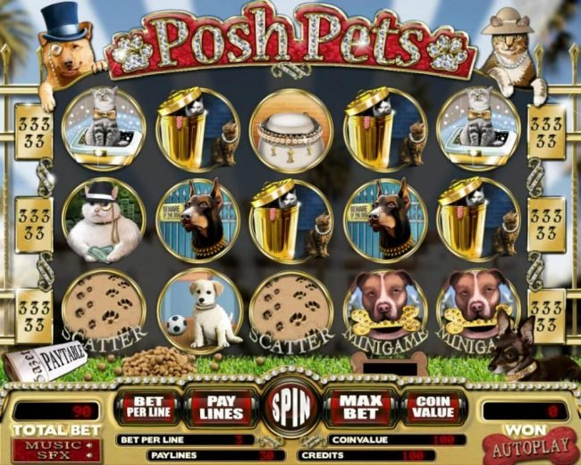 Play slots at Elegant VIP: Elegant VIP featuring the Video Slots Posh Pets with a maximum payout of $18,000