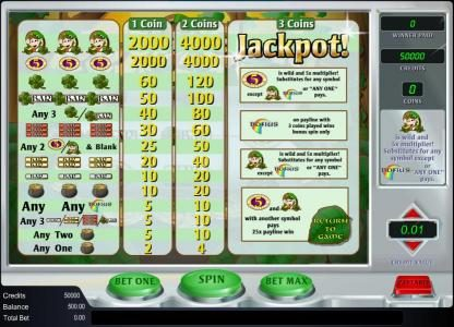 Pot O' Gold :: paytable play up to three coins