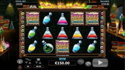 Lord of the Spins featuring the Video Slots Potion Commotion with a maximum payout of $10,000
