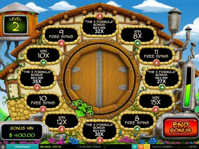 Casimba featuring the Video Slots Potion Factory with a maximum payout of $5,000