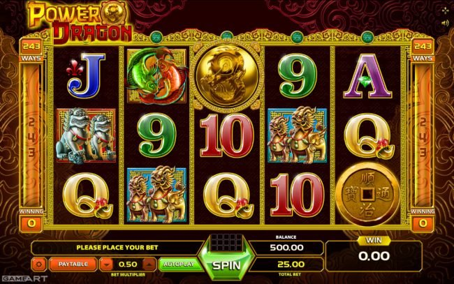 Africa Casino featuring the Video Slots Power Dragon with a maximum payout of $1,250