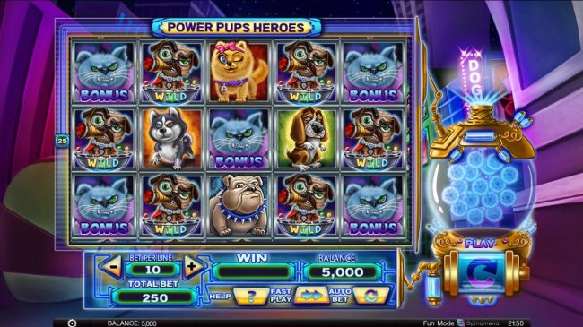 Spintropolis featuring the Video Slots Power Pups Heroes with a maximum payout of $4,000