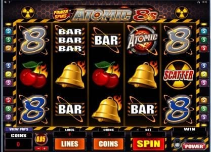 Shadowbet featuring the Video Slots Power Spins - Atomic 8's with a maximum payout of $80,000
