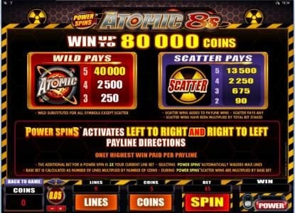 Play slots at Grand Mondial: Grand Mondial featuring the Video Slots Power Spins - Atomic 8's with a maximum payout of $80,000