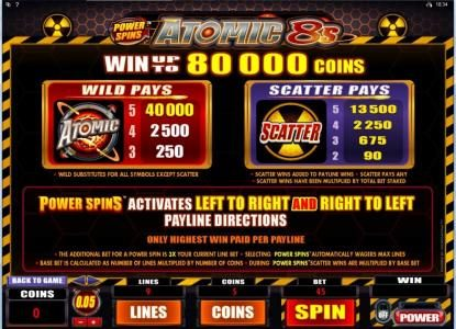 Videoslots featuring the Video Slots Power Spins - Atomic 8's with a maximum payout of $80,000