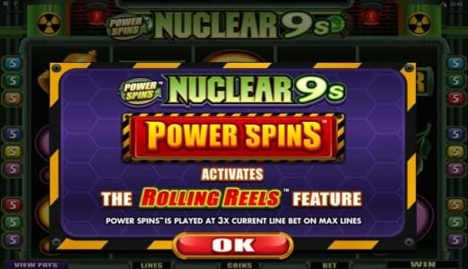Casino Kingdom featuring the Video Slots Power Spins - Nuclear 9's with a maximum payout of $50,000