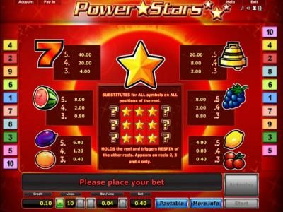 Pamper featuring the Video Slots Power Stars with a maximum payout of $10,000