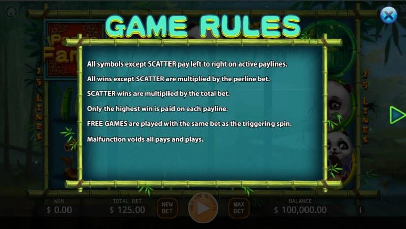 Panda Family :: General Game Rules