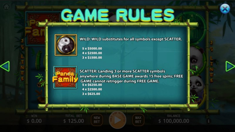 Panda Family :: Wild and Scatter Rules