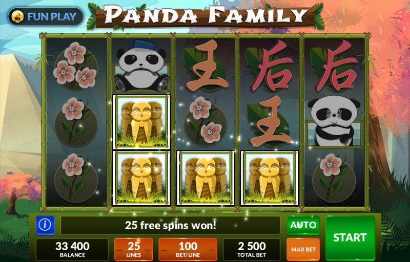 Panda Family :: Scatter symbols triggers the free spins feature