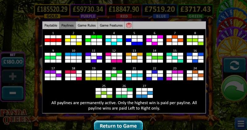 Panda Queen :: Paylines 1-27