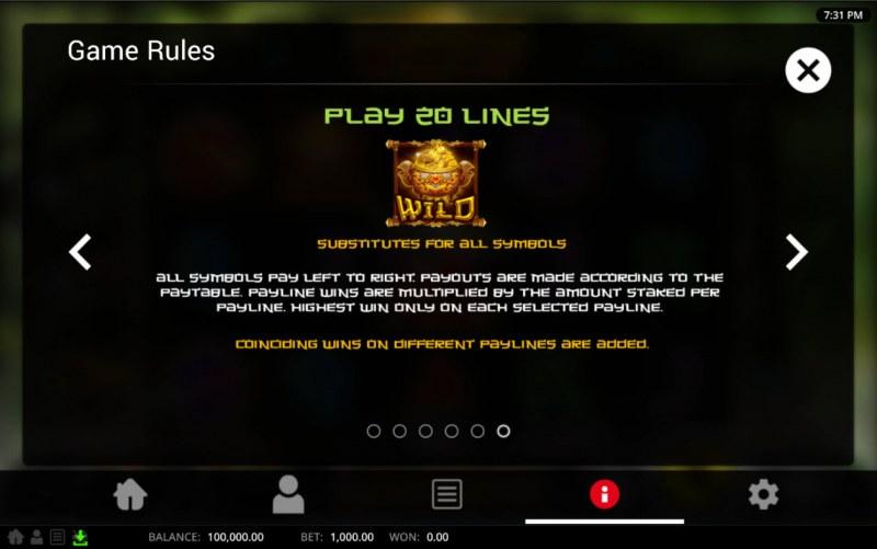 Panda Warrior :: Wild Symbol Rules